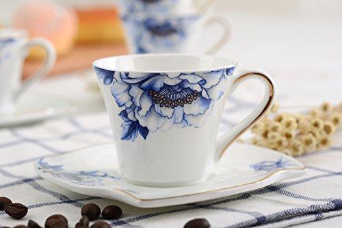 Porlien Porcelain 2.5-Ounce/80ml Small Espresso Cups Set of 4 with Saucers, Blue Floral Gold Trimmed by Porlien (Image #8)
