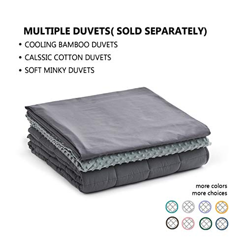 YnM Weighted Blanket (15 lbs, 48''x72'', Twin Size) for People Weigh Around 140lbs | 2.0 Cozy Heavy Blanket | 100% Cotton Material with Glass Beads, Dark Grey