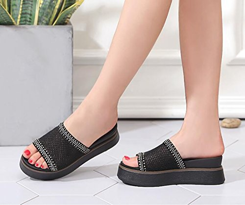 Women's Slipper Summer, Fashion Slope with Women's Slippers, Summer Cool Slippers Flat Sandals,Fashion sandals (Color : B, Size : 37) B