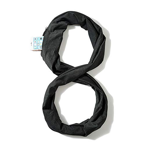 - Chic Women Thick Scarf With Double Layer Zipper Pocket–Soft Stretchy Jersey Infinity Scarf (Black)