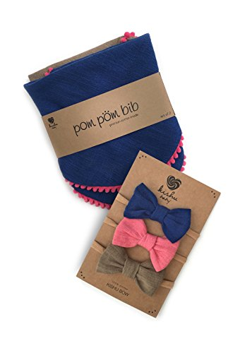 kishu baby Girl Pom Pom Bibs and Bows Gift Set for Girls, Royal Khaki Pink, multicolor, One Size by Kishu Baby