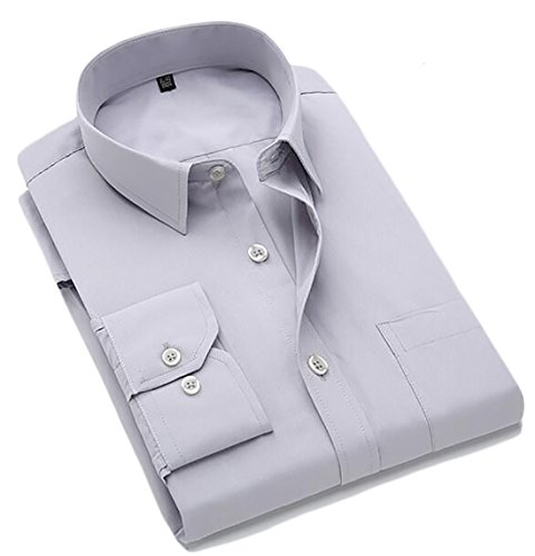 Blouse Sleeve Business Button Fashion Grey Tops UK today Down Mens Long nq67w0Xz