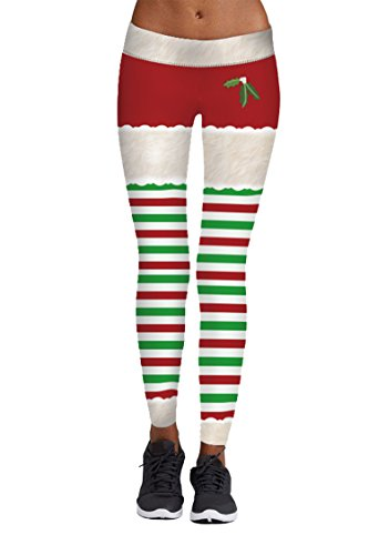 Pink Queen Womens Chic Ugly Santa Christmas Leggings Funny Costume Tights