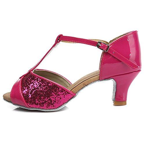 Salón 259 Hroyl De Rojo Baile Zapatos Cuero Latino Mujer Cordón BBvg0F