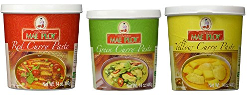 Mae Ploy Red Curry Paste, Green Curry Paste and Yellow Curry Paste Set. Great Cooking ()