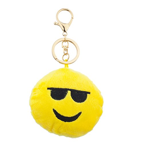 Lux Accessories Yellow Emoji Sunglasses Face Fabric Pillow Bag Charm Key - Face Emoji With Sunglasses