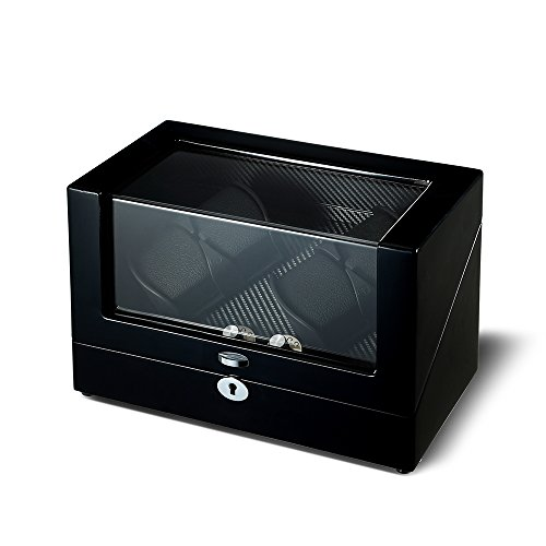 OLYMBROS Wooden Double Rotors Automatic Watch Winder Storage Boxes for 4 Watches with LED Light by Olymbros (Image #2)