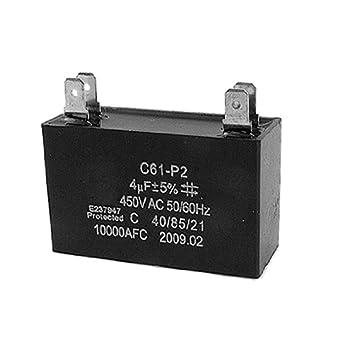 uxcell® C61-P2 50/60Hz 4uF 450V AC Motor Run Capacitor Black