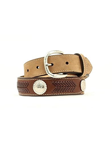 Nocona Boy's Arrow Style Stitching Belt, Medium Brown Distressed, 26