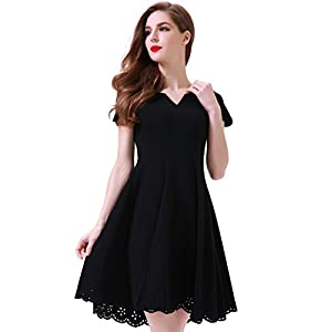 Aphratti Women's Cute Scallop Short Sleeve Casual Skater Dress Cocktail Party 41S4pqP7fuL