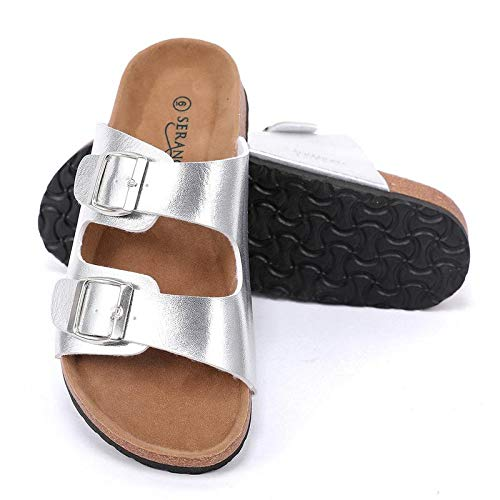(Seranoma Women's Comfort Double Buckle Indoor/Outdoor Cork Sandal | Classic Comfortable Slide | Adjustable Buckles Silver)