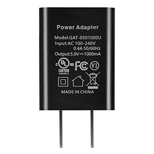 US Plug USB Power Charger, 5V 1A Power Adapter, 5W OEM Charger for Amazon Kindle 3 4 5, Paperwhite 2 3, Power Adapter for Amazon Kindle Paper (Black, No Cable)
