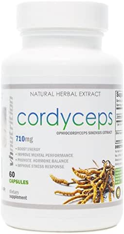 Cordyceps Capsules | 710mg Sinensis Mushroom Extract | 7% Cordycepic Acid Formula | Natural Adaptogen to Improve Mental Clarity and Focus | VH Nutrition | 30 Day Supply
