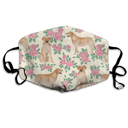 NOT Yellow Lab Fabric Yellow Labrador Retriever Florals Rose Cream Personality Lovely Unisex Dust Mask, Suitable for Young Men and Women, Ski Bike Camping Windproof Motorcycle Face Mask