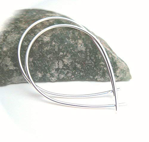 (Medium Silver Slip on Hoop Earrings, Fish Shape Sterling 925 Wire 1.25 inch)