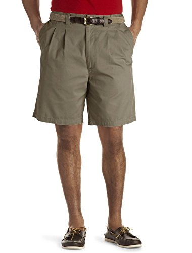 Harbor Bay by DXL Big and Tall Waist-Relaxer Pleated Twill Shorts (46 Reg, Olive) Green Pleated Shorts