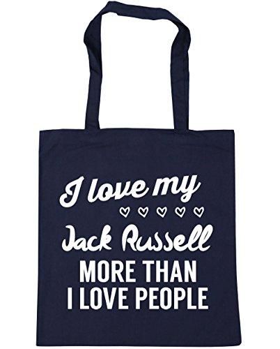 HippoWarehouse I Love My Jack Russel–más de I Love People Tote Compras Bolsa de playa 42cm x38cm, 10litros azul marino