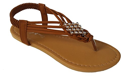 Elegante Damesmode Kameel Kleur Gladiator String Platte Schattige Sandalen Met Strass Steentjes Kameel Kleur