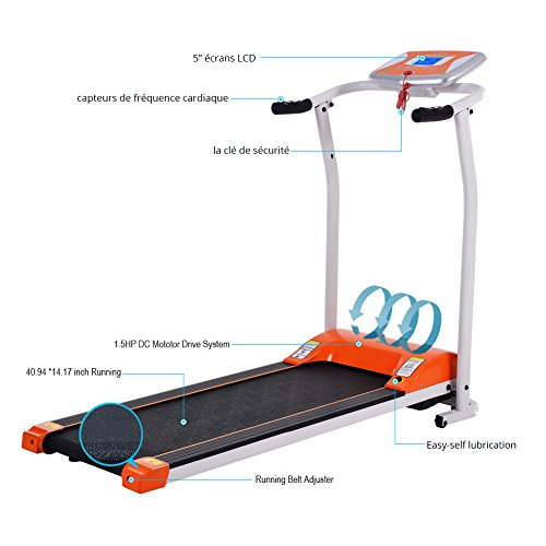 Folding Electric Treadmill Running Machine Power Motorized for Home Gym Exercise Walking Fitness (1.5 HP - Orange - Not Incline) by ncient (Image #2)