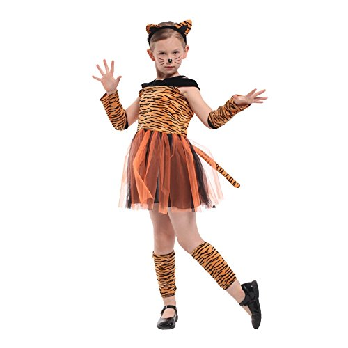 Girls Halloween Costume Tigress Tiger Costume (XL 51.18IN – (Tiger Girl Costume)