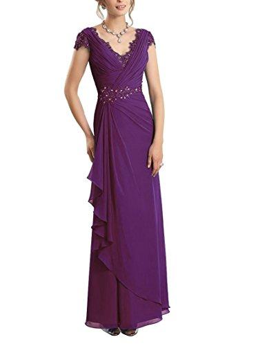 CJMY Women's A-Line V-Neck Sleeveless Formal Gown Chiffon Lace Sheath Bodice Fashion Mother Formal Evening Party Dress Grape ()