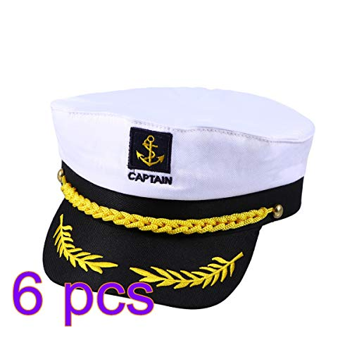 Amosfun 6PCS Adult Yacht Boat Ship Sailor Captain Costume Hat Cap Navy Marine Admiral Halloween Costumes