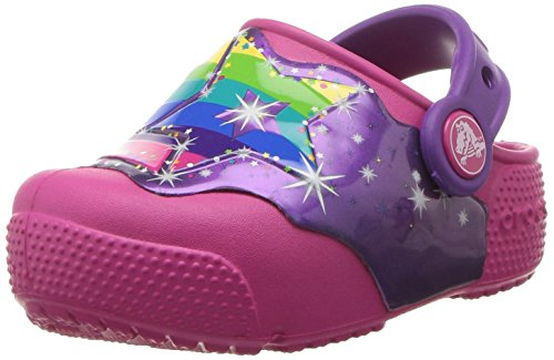 Crocs Kids' Fun Lab Light-Up Girls Graphic Clog, Multi Stars, 6 M US -
