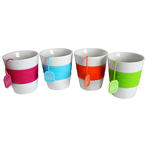 Les Boutiques NICO Porcelain Mugs, Silicone Sleeves and Infusers in Matching Colors, FDA Compliant, BPA Free, Capacity 8.5oz, Lovely Set for the Whole Family