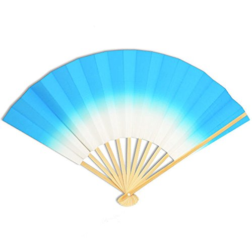 Japanese Geisha Odori Dancing Hand Held Sensu Folding Fan Blue, Made in Japann by Yokohama Gifts