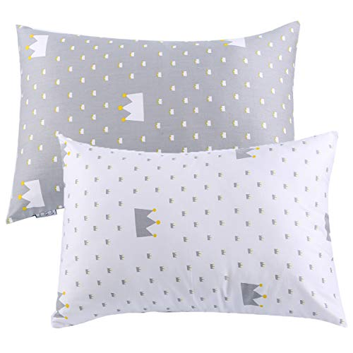 Kids Toddler Pillowcases UOMNY 2 Pack 100% Cotton Pillowslip Case Fits Pillows sizesd 13 x 18 or 12x 16 for Kids Bedding Pillow Cover Baby Pillow Cases White/Grey Crown