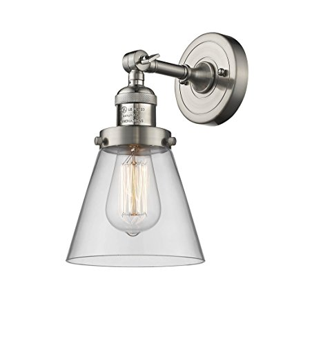 Innovations 203-SN-G62-LED 1 Light Vintage Dimmable LED Sconce, Brushed Satin Nickel from Innovations