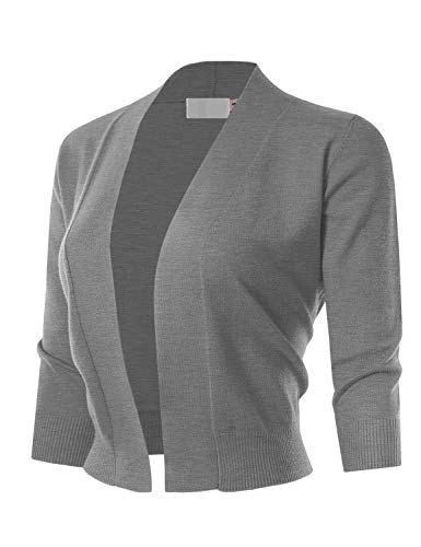 MAYSIX APPAREL 3/4 Sleeve Solid Open Bolero Cropped Cardigan For Women HEATHERGRAY M
