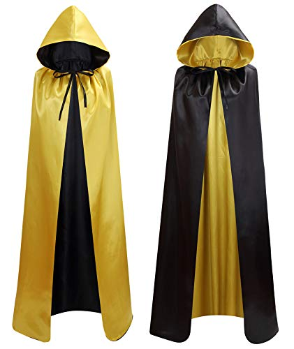 makroyl Unisex Reversible Hooded Cloak Cape for Christmas Halloween Party Vampires Cosplay Costumes (Black+Yellow, Large) -