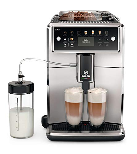 Saeco super-automatic espresso coffee machine with an adjustable grinder, milk frother, maker for brewing espresso, cappuccino, latte, macchiato. Xelsis SM7581/00