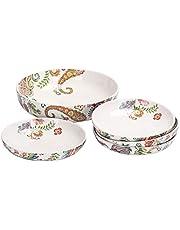 Bico Ceramic Pasta Bowl Set, Set of 5, for Pasta, Salad, Microwave & Dishwasher Safe