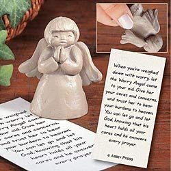 Abbey Press Worry Angel Figure with Card - Inspiration Faith Blessing Spirit 03680C-ABBEY