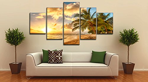 Beach Ocean Painting on Canvas Wall Art, Modern Landscape Scenery Seascape Posters and Prints Pictures for Living Room Bedroom Home Deco, Gallery-wrapped Canvas Art Set Framed (60''W x 32''H) Painting Art Print Set