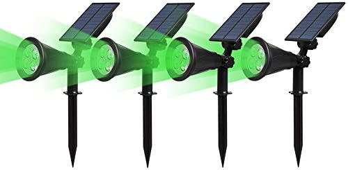 180/°Angle Adjustable for Tree Stairs Patio Yard Garden Auto-on at Night//Auto-Off by Day T-SUN Solar Spotlight LED Outdoor Wall Light Green-2pack IP65 Waterproof Driveway Pool Area
