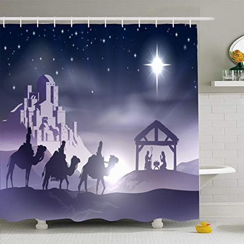 Ahawoso Shower Curtain for Bathroom 66x72 Star Advent Kings Blue Born Story Christmas Scene Baby Holidays Manger Wise Silhouette Night City Waterproof Polyester Fabric Bath Decor Set with Hooks