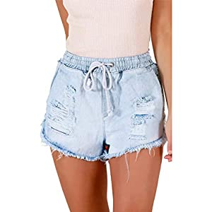 luvamia Women Ripped Denim Jean Shorts Casual Stretchy Mid Rise Short Jeans Pants