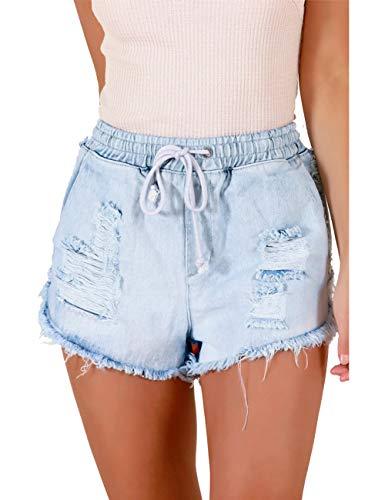 luvamia Women's Ripped Denim Jean Shorts Elastic Waist Drawstring Short Jean Pants Light Blue Size Medium