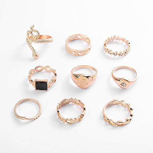 9PCS Knuckle Stacking Ring Set Snake Ring Set for Women Teen Girls Boho Vintage Stackable Joint Midi Finger Rings Gold Knuckle Rings Set