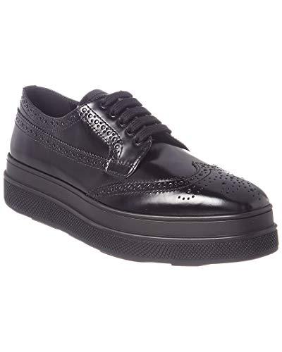 - Prada Leather Platform Brogue, 37.5, Black
