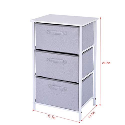 Levacy 3-Drawer Stylish Vertical Dresser Storage Tower Sturdy Steel Frame Wood Top Storage Cabinet, Ideal for Closets, Bedrooms, Nurseries, Games Rooms, Entranceways(White) (White) (Storage Entranceway)