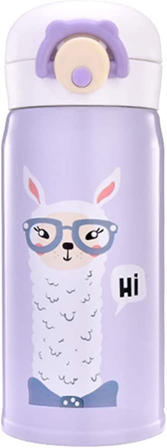 Water Bottle Thermoses Cute Alpaca, Thermal Vacuum Cups for Hot and Cold Drinks, BPA Free Stainless Steel Insulated Leak-proof Flask for Boys and Girls School Kids Indoor Outdoor Sports(12 oz Purple)