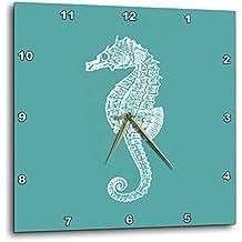 3dRose dpp_164965_2 Teal Blue Seahorse Print Sea Horse Ocean Marine Beach Aquarium Aquatic-Wall Clock, 13 by 13-Inch