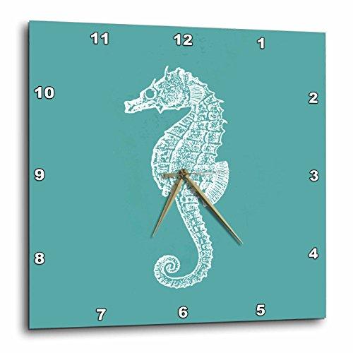 Cheap 3dRose dpp_164965_2 Teal Blue Seahorse Print Sea Horse Ocean Marine Beach Aquarium Aquatic-Wall Clock, 13 by 13-Inch