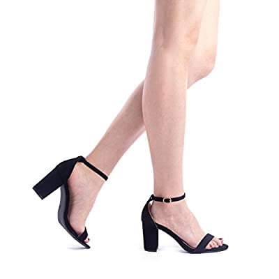 DREAM PAIRS Women's Chunk Low Heel Pump Sandals