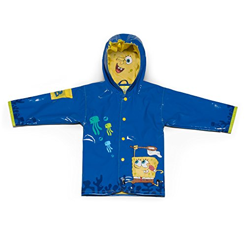 Nickelodeon Little Boys' SpongeBob Rain Coat, Blue, Size 3T (Storm Nylon Coat)