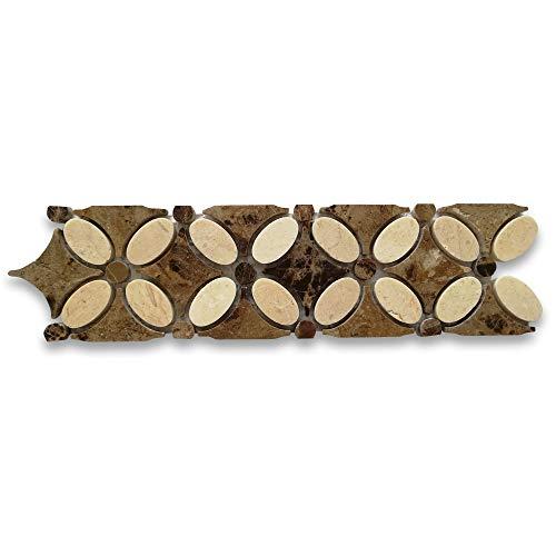 Crema Marfil Marble Flower Mosaic Border Listello Tile w/Emperador Dark Marble Polished